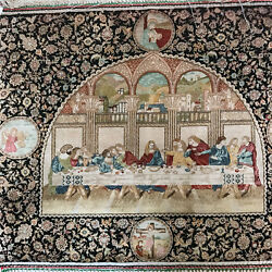 1000 Lines 1'x0.8' Handknotted Silk Persian Area Rug Last Supper Tapestry LS015