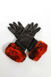 Chanel Brown Leather Dyed Orylag Rabbit Fur Trim Gloves