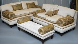 BRAND NEW GEORGE SMITH SOFA STOOL SUITE RRP £24000+ WITH PAPERWORK VELVET SILK