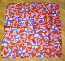 JACQMAR Vintage 60s Abstract Print Silk Scarf Handrolled 29