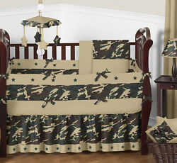 Camo Military Camouflage Army Olive Green Brown Baby Crib Bedding Set for a Boy