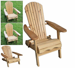 Garden Foldable Wood Adirondack Chair Outdoor Natural Finish light Weight Relax