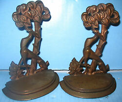 Bronze Art Deco Llama & Tree Bookends Super Design May be Copper but Awesome !!
