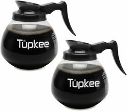 Coffee Pot Decanter Carafe Commercial Replacement 2 PACK BLACK 12 Cup 64oz