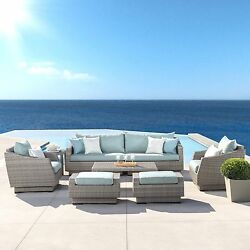 Alfonso 8 Piece Sofa and Club Chair Seating Group w Cushion Upgrade Ur Patio WF