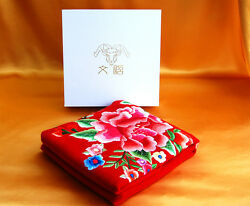 Red Cashmere Scarf for Women with Hand Embroidery (Peony Flowers) ( for Winter)