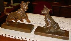 Pair Edith Parsons bronze dog bookends-----15355