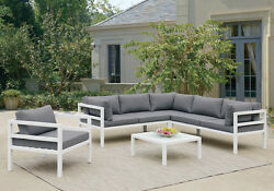Patio Outdoor Set Sectional Couch Chair Glass Table Gray Cushion Metal in White