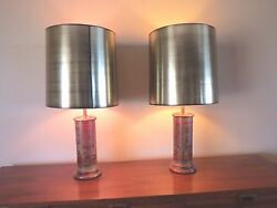 Vtg 2 Large MCM Hollywood Gold Metallic Drum Shades and baluster lamps. bolstad