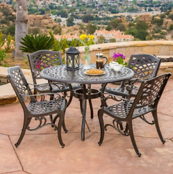 Outdoor Patio Furniture Cast Aluminum Dining Set 5 Piece Table 4 Arm Chairs New