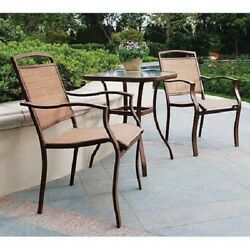 Outdoor Bistro Set Tan Patio Table And Chairs Glass Metal Deck Furniture Porch