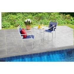 Outdoor Bistro Set Blue Patio Table And Chairs Glass Metal Deck Furniture Porch
