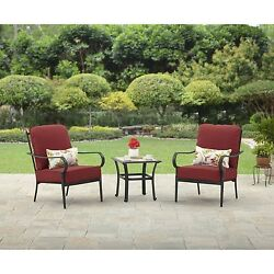 3 Piece Outdoor Bistro Set Garden Chat Table Red Deck Chairs Patio Furniture