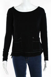 Label + Thread Black Cashmere Pullover Long Sleeve Scoop Beck Blouse Extra Small