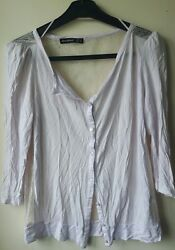 Atmosphere Womens Cardigan Sweater Mesh back  Summer Jumper w Buttons Size 8