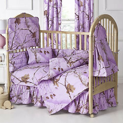 REALTREE AP LAVENDER PURPLE CAMOUFLAGE BABY CRIB BEDDING - 6PC