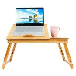 Portable Bamboo Laptop Desk Table Folding Breakfast Bed Serving Tray w Drawer $24.99