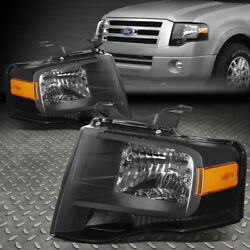 FOR 07 14 FORD EXPEDITION BLACK HOUSING AMBER CORNER HEADLIGHT REPLACEMENT LAMP $141.95