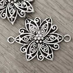 15pcs Tibetan Silver Charm Pendant Link Connector Jewelry Flower 40x28x3mm