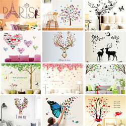 DIY Mural Art Romatic Loving Flower Removable Home Decor Wall Sticker Room Decal $7.99