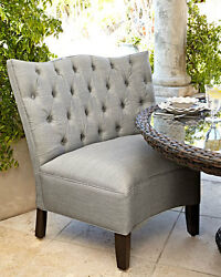 Tufted Outdoor Seating Beige Rounded Chair Banquette Neiman Marcus Horchow