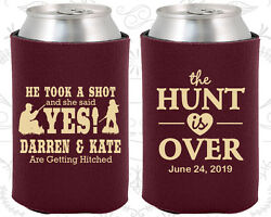 Personalized Wedding Can Holders Custom Holder (03) He Took a Shot She Said Yes