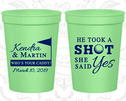 Personalized Wedding Gift Cups Custom Cup (320) He Took A Shot She Said Yes