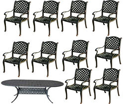 Patio dining set 11pc outdoor cast aluminum garden furniture Nassau table chairs