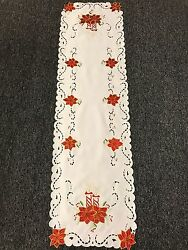 Christmas Holiday Party Red Poinsettia Embroidered Lace Table Placemat Runner $12.00