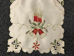 Christmas Holiday Party Poinsettia Candle Embroidered Lace Placemat Runner Beige $12.00
