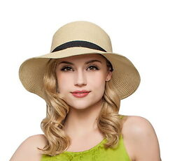 Women Floppy Sun Beach Straw Hats Wide Brim Packable Summer Cap $11.99