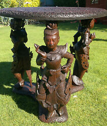 Rare Antique Carved Deity Figural Table BurmeseAnglo Indian Hindu