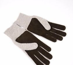 Brunello Cucinelli Oatmeal Cashmere Brown Suede Perforated Gloves XL NIB $795