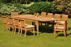 Giva A-Grade Teak Wood 11Pc Dining Atnas Rectangle Table Chair Patio Outdoor Set