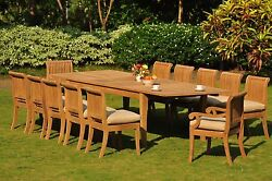 Giva A-Grade Teak Wood 13Pc Dining Atnas Rectangle Table Chair Patio Outdoor Set