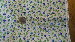 Vintage Cotton Fabric SHADES OF BLUE FLORAL ON WHITE 1 Yd 45quot; $12.00