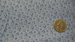 Vintage Cotton Fabric SHADES OF BLUE PANSIES ON BLUE 1 Yd 44quot; $9.99