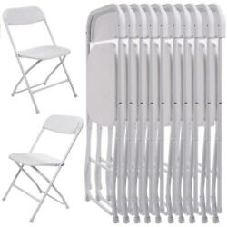 Hot 10Pcs Commercial White Plastic Folding Chairs Stackable Wedding Party Chair