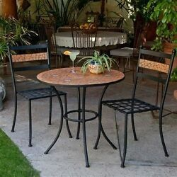 Outdoor Patio Garden Furniture Black Metal Bistro 3-Piece Set Terra Cotta Tiles