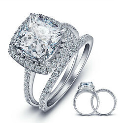 925 Sterling Silver Cushion Cz Wedding Band Engagement Rings Set Size 5-9 Ss2206