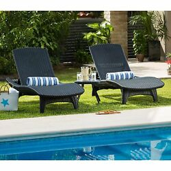 Set Chaise Lounge Chairs and Side Table Keter Patio Brown Rattan Outdoor Lounger