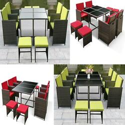 iKayaa 810-Seater Rattan Patio Dining Table Chair Set Comfortable Seating W0O6