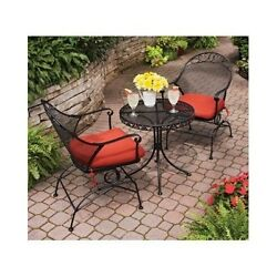 3 PC Motion Patio Set Outdoor Garden Bistro Lawn Furniture Treated Red Cushions