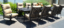 11 piece outdoor dining set patio chairs table Santa Anita cast aluminum bronze