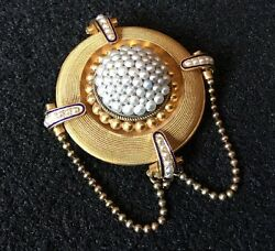 Antique Victorian 18ct 18k Gold Natural Seed Pearl Blue Enamel Target Pin Brooch
