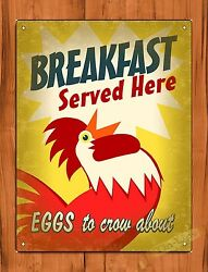 TIN SIGN quot;Breakfast Served Herequot; Eggs Rooster Farm Kitchen Art Decor $15.95