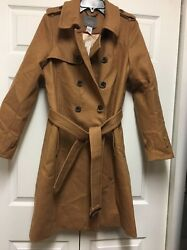 J. Crew Icon Trench Coat Italian Wool Cashmere Heather Acorn Size 10 NWT