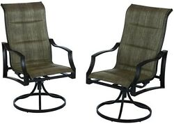 Hampton Bay Statesville Padded Sling Patio Lounge Swivel Chairs (2-Pack)