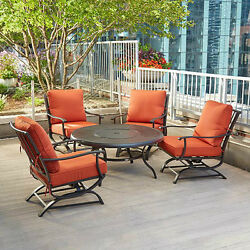 Patio Set Fire Pit Seating Table Rocking Chairs Cushions Outdoor Dining 5 Pc New