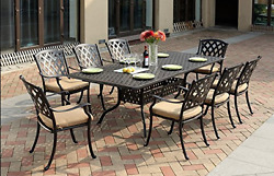 9 Piece Outdoor Dining Set Cast Aluminum Table Chairs Patio Furniture Bronze New